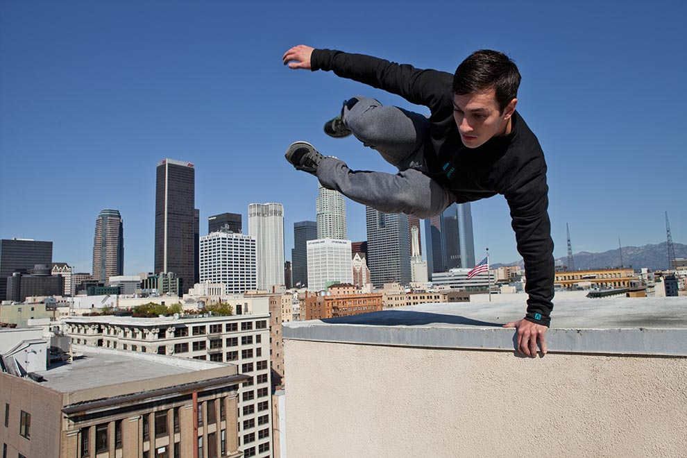 Traceur veste Instant Cory Demeyers Tempest Freerunning Academy Los Angeles